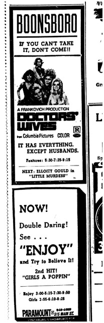 Advertisement for Boonesboro & Paramount Theaters