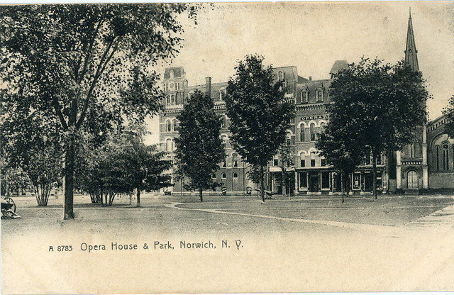 Burr Opera House and surrounding buildings and park, circa 1905