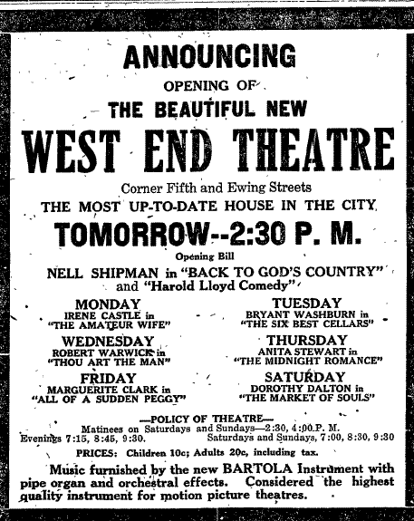 Add for the opening of the West End Theatre
