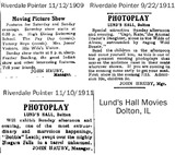Lund's Hall - Early Newspaper Ads