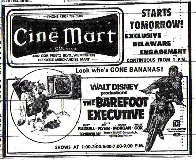 Ad for the Barefoot Excutive @ CineMart