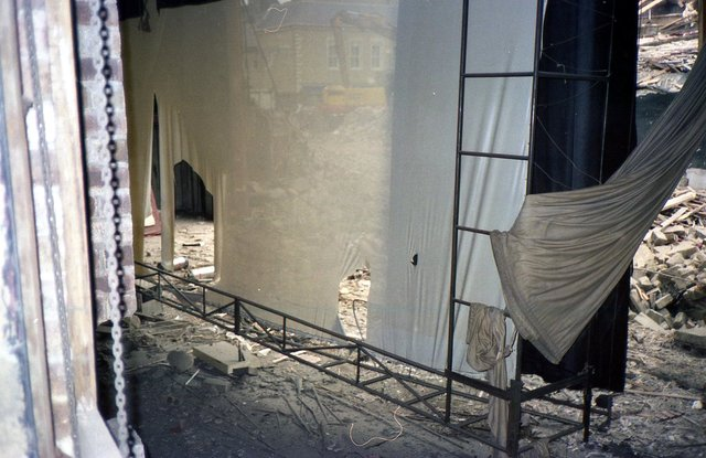 Backstage view during demolition of ABC Ritz Huddersfield June 1985