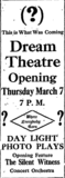 Ad for opening of Dream Theatre