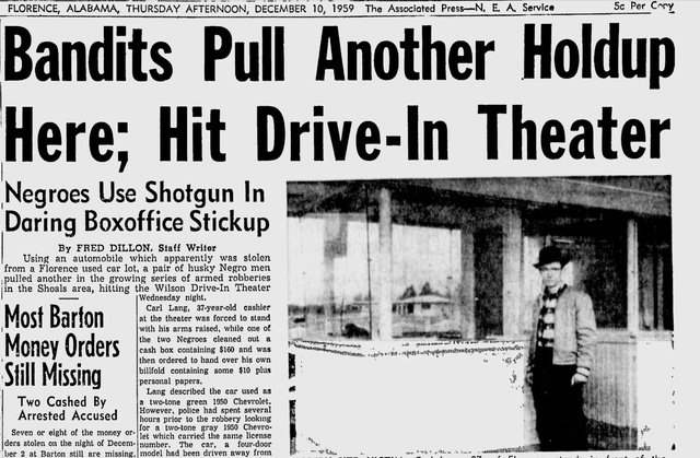 Dec 10, 1959 article about Wilson Drive In robbery