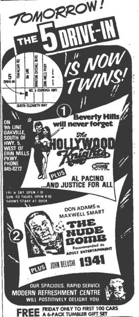 Ad for the opening of the 5 Drive-in's second screen