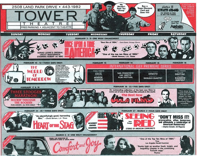 Tower Theatre Calendar 1984