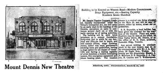 Mount Dennis Theatre First Publicity 1927
