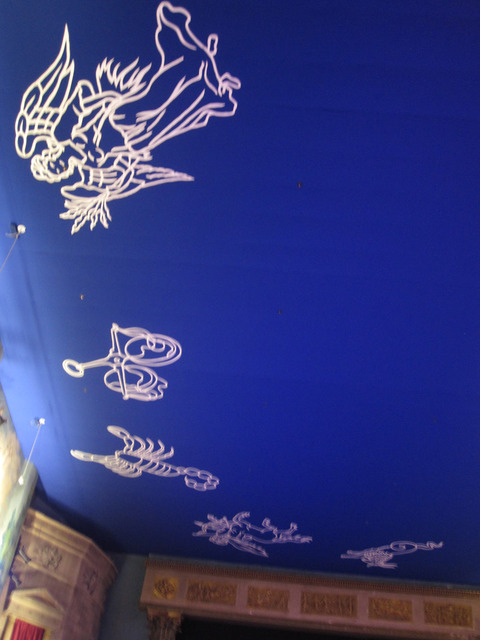 "Ceiling with blue ""sky"" and zodiac symbols"