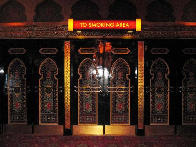 Door from main lobby to smoking area