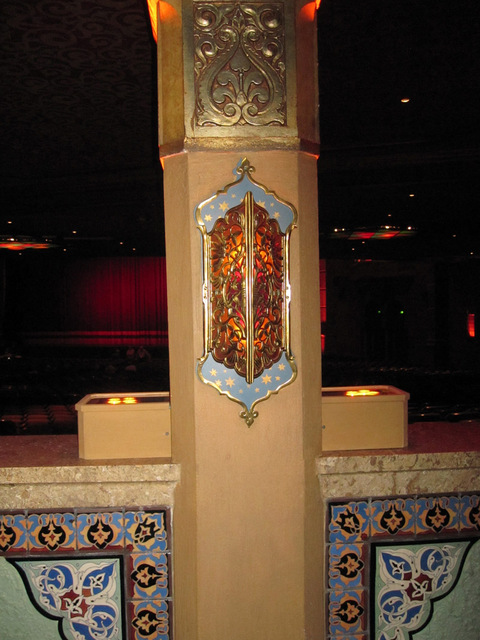 Decorative column, rear of orchestra - with flash - showing plaster details