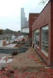 Cary Theatre renovation showing new marquee installed; Mitchell's Pharmacy is shown at right.