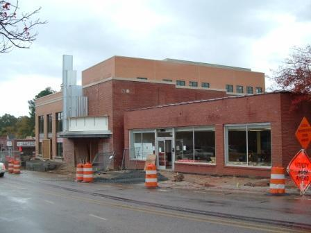 Wide view from across Chatham St. shows theatre in center, old Mitchell's pharmacy right and new Visual Arts center far left.