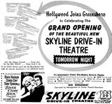 May 10th, 1962 grand opening ad as Skyline Drive-In
