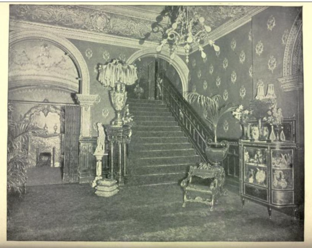 B. F. Keith's Theatre Boston 1895 - Section of Grand Reception Room and Balcony Staircase