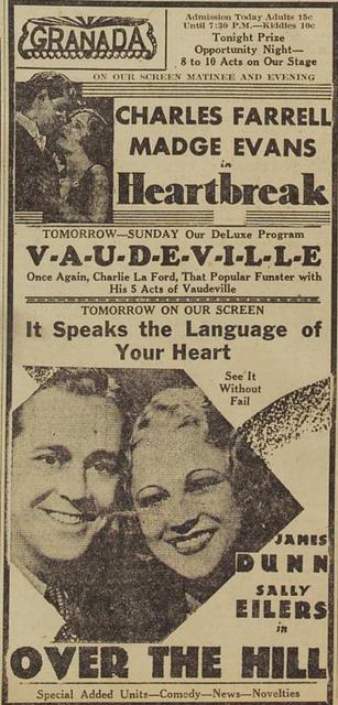 Racine: GRANADA Theatre ad, February 1932.