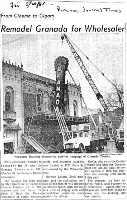 1961: Racine GRANADA Theatre closes, is sold.