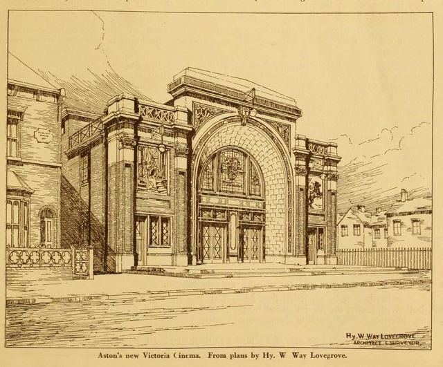Architects sketch of the Victoria Theatre, Aston, Birmingham from 1924