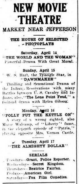 New Movie Theatre Newspaper Advert 1917