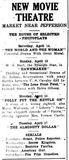 New Movie Theatre Newspaper Advert 1917