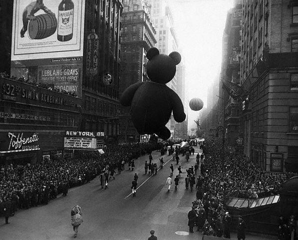 1945 Macy's parade by the New York Theatre, source unknown.