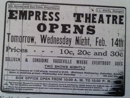 Empress Theatre Advertisment 1912