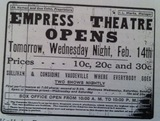 Empress Theatre Advertisment 1912