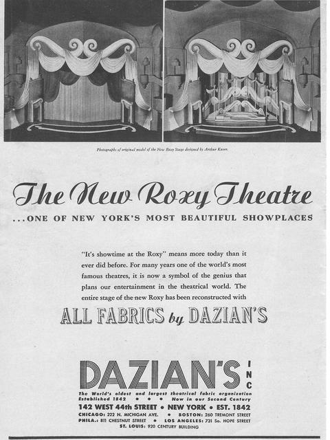 1943 ROXY program ad
