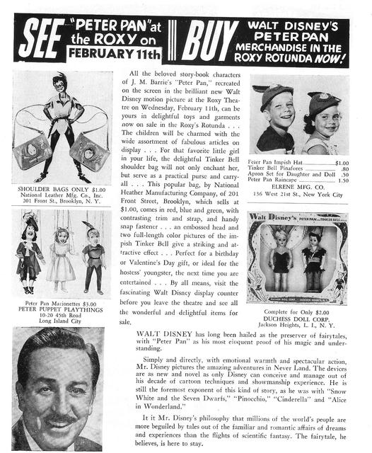 Tie-in merchandise ad for Disney's PETER PAN 1953 at NY ROXY