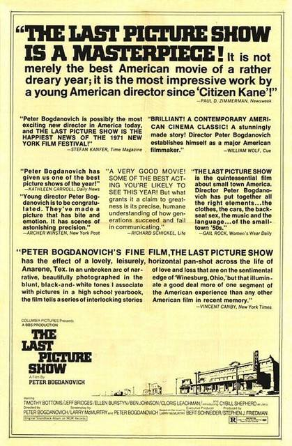 "Print ad for ""The Last Picture Show"" with a small drawing of the Royal Theater."