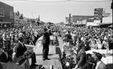 John F. Kennedy campaigining in 1960. Uptown Theater in the far L/H background. Photo courtesy of Phillip May.