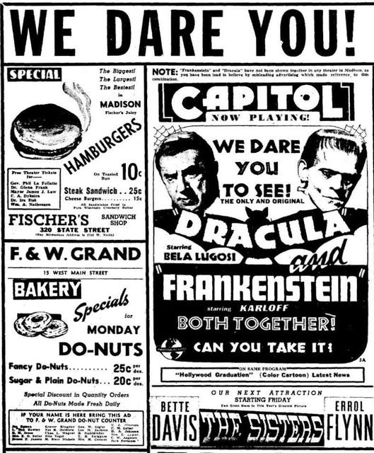 Circa 1938 print ad for the Capitol Theatre courtesy of Ted Okuda.