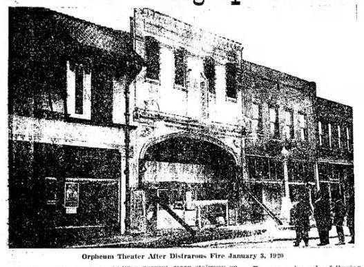 January 3, 1920 newspaper photo of the Orpheum Theatre after a fire. Rebuilt as the Rialto.