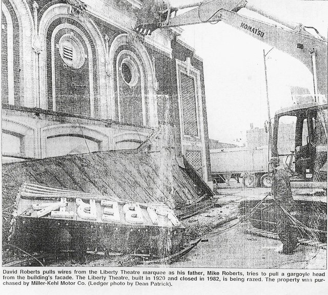 Ledger Newspaper photo of Liberty demolition by Dean Patrick