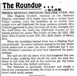 Ledger newspaper clipping about an earlier June 28, 1912 Orpheum fire. The later 1920 fire destroyed the theatre and it was rebuilt as the Rialto. Courtesy of Ruthie Veltrop Kuda.