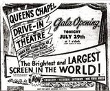 <p>1955 Gala Opening ad for Queens Chapel Drive-In. Via the Memories of Growing Up In Hyattsville MD. Facebook page.</p>