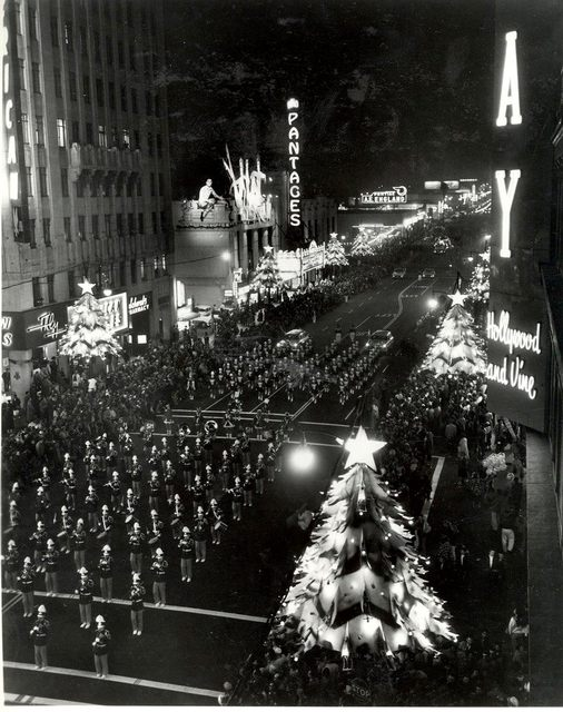 Circa 1950 Christmas parade passes the Pantages. Photo source unknown.