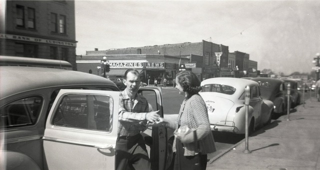 Undated photo withe Center Theatre in the background. Photo courtesy of the Lincoln Land Facebook page.