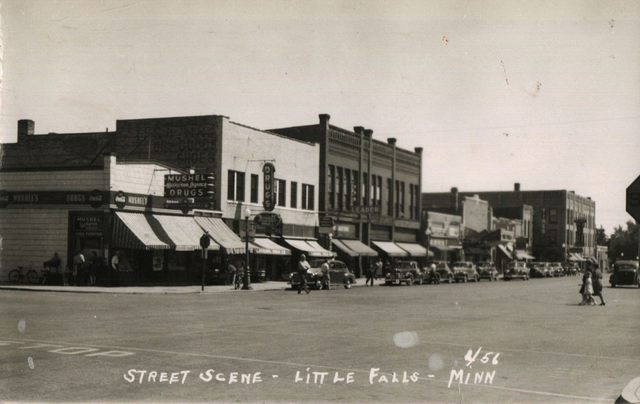 1956 photo with Falls Cinema in the background.
