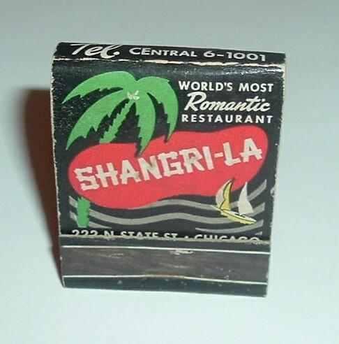 Shangri-La Restaurant Matchbook