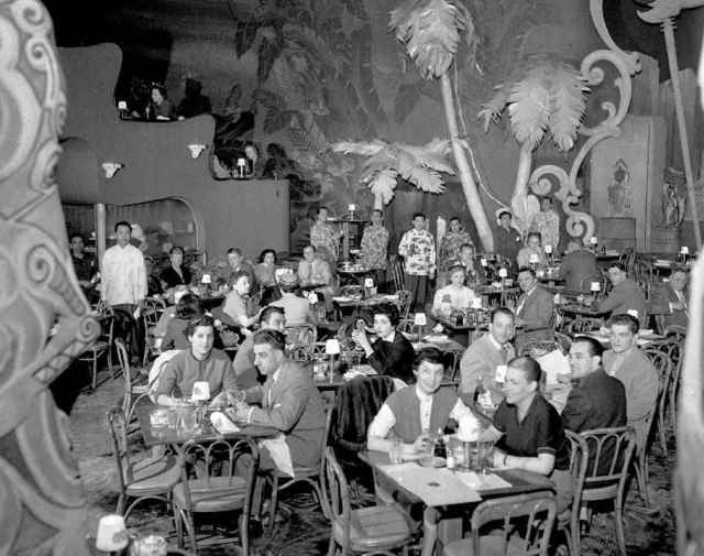 1955 photo of the Shangri-La restaurant interior.