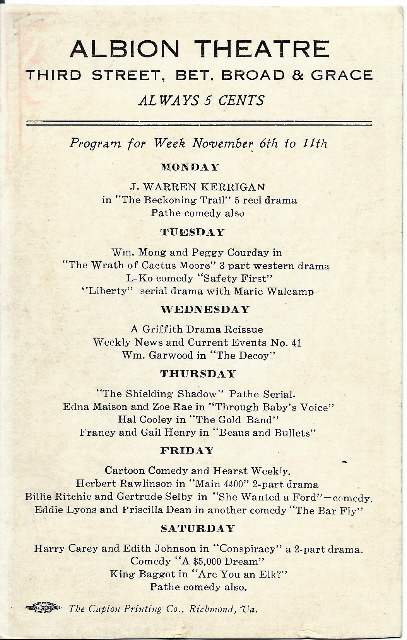 Albion Theatre program for the week of November 6, 1916