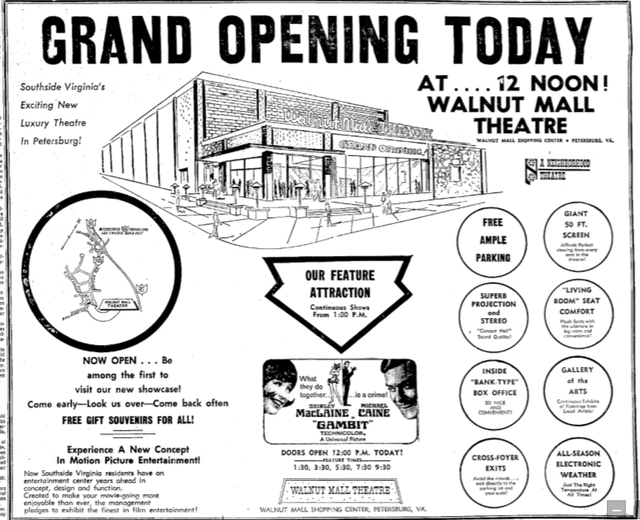 Walnut Mall Opening as a Single-Screener