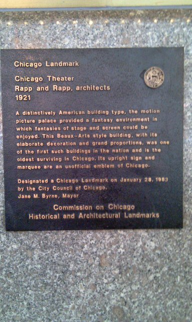 Chicago Theater Landmark Plaque