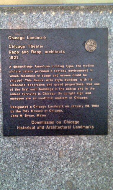 Chicago Theater Landmark Plaque