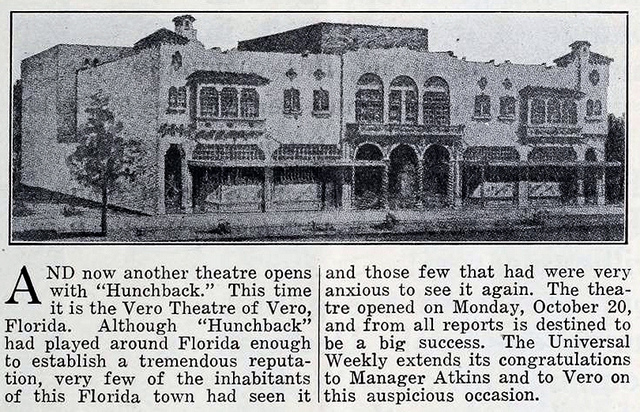 Vero Theatre, Vero Beach, FL in 1924