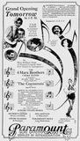 Paramount grand opening ad July 19th, 1929