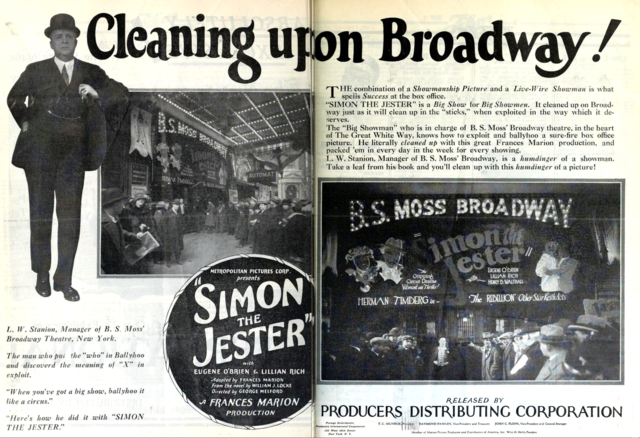 B S Moss Broadway Theatre, New York in 1925