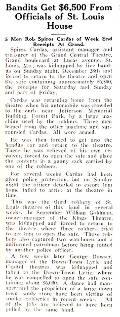 Robbery at Grand Central Theatre, St Louis, MO in 1925