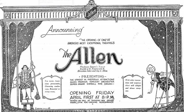 March 27th, 1921 grand opening ad