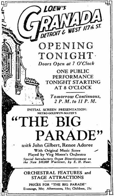 Granada grand opening ad October 15th, 1927
